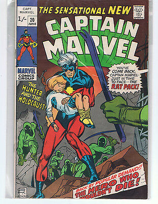 Captain Marvel Comic Issue #20 First Bronze Age Marvel Comics 1970 VF+