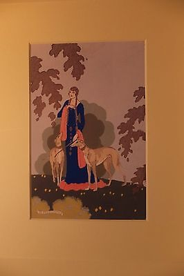 Reprint Art Deco Fashion  Lady With Greyhounds
