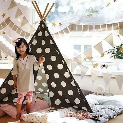 Dream House Cotton Canvas Polka Dot Indian Teepee Tent Kids Play Tent for Indoor