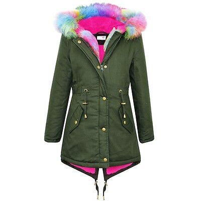 Girls Fur Collar Jacket Kids Rainbow Fur Parka School Jackets Coat 7-13 Years