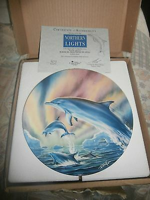 Danbury Mint Magical Dolphin Plate  Northern  Lights       New In Box & Cert