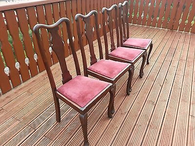 Set of 4 Vintage Queen Anne Style Dining Chairs