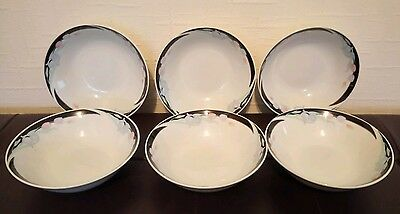 Set of six (6) white floral china cereal / soup / dessert bowls - brand new