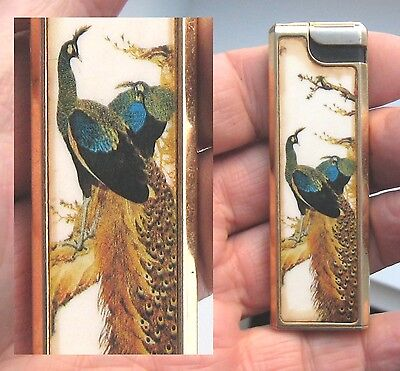 Vintage Lighter With Superb Peacocks Bird By Bmj Kuartz Electronic