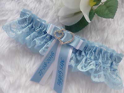 Personalised Wedding Garter Blue/white Or Blue/ivory Choice Of Hearts Or Bar