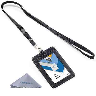 Wisdompro 2-Sided Vertical Style PU Leather ID Badge Holder with 1 ID Window and