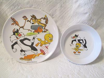 Looney Tunes Sylvester Tweety Road Runner Wile E. Coyote Plate Bowl Child Dishes