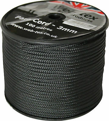 100m 100 metre Roll Spool Webtex Military Style 3mm Paracord Para Parachute Cord