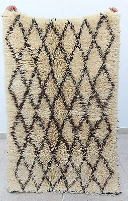 100% Authentic Beni Ourain Moroccan Ivory Wool Rug 5'7 x 3'7