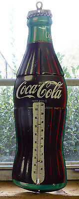Vtg 1950's Coca-Cola Metal Sign Coke Bottle Thermometer Marked Robertson 16.5""