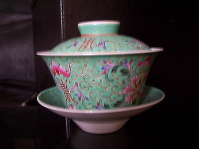 Antique Chinese Famille Rose Tea Cup & Saucer