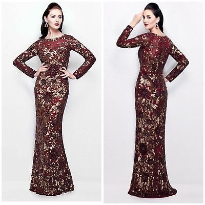 f08bfba394 Primavera Couture 1401 Long Sleeve Sequined Floral Gown In Burgundy All  Sizes