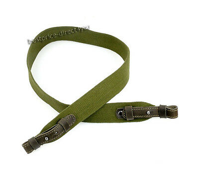 "Green Canvas Shotgun Rifle Sling Strap Leather Bindings - Length 35.5"" -  43"""