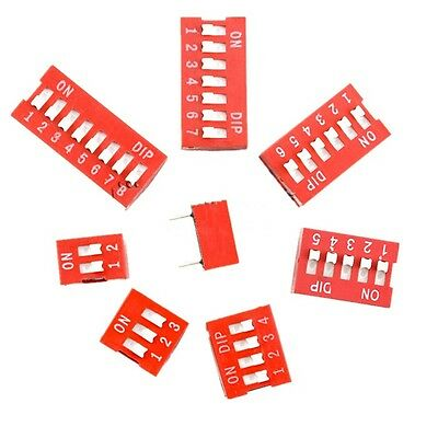 10Pcs Red 2.54mm Pitch Switch Ways Slide Type DIP 1 2 3 4 5 6 7 8 9 10 12 Bits L