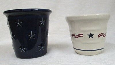 2 Longaberger ALL AMERICAN & PROUDLY AMERICAN Votive Candle Holders~VERY NICE