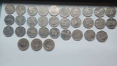 Full set of london olympic 50p and 3 olympic £2 coins