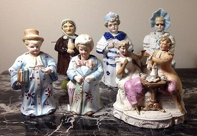Lot Of 6 Victorian Porcelain Bisque And German Nodders