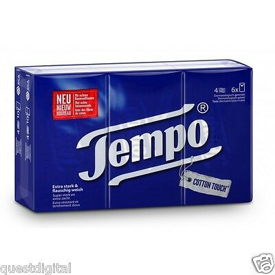 Tempo Classic Tissues Pocket Size 6 Packs X 10 = 60 Tissues Soft Cotton Touch