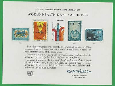 UN1 and UN1A souvenir cards 1st Print WHO 1972 Large period And Small Period