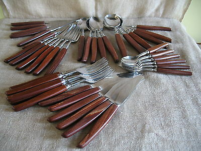 VINTAGE GLOSSWOOD 50s SHEFFIELD STAINLESS STEEL CUTLERY WOODEN HANDLES 41 PIECES