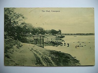 The Ghat, Cawnpore, India - Real Photo Postcard - Posted