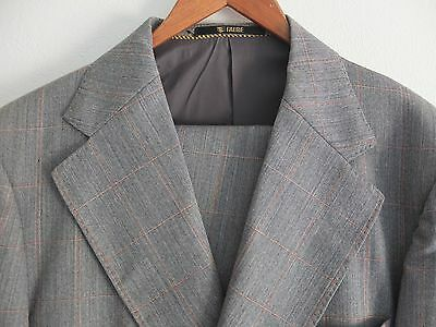 Men's Vintage 1980s Falbe Danish made Suit, Grey with tan check size medium