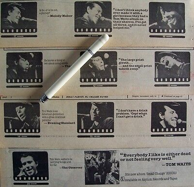 TOM WAITS 1973 - 1978 PROMO ADVERT + CLIPPINGS LOT closing time small change