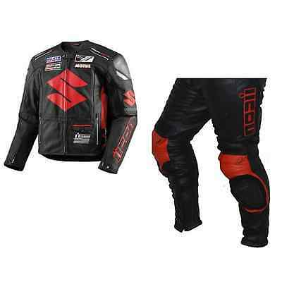 SUZUKI-MOTUL-ICON MOTORBIKE LEATHER SUIT RACING MOTORCYCLE COWHIDE LEATHER(Rep)