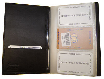 Genuine Leather Multiple Business ID Credit Cards Holder Book Organizer Wallet