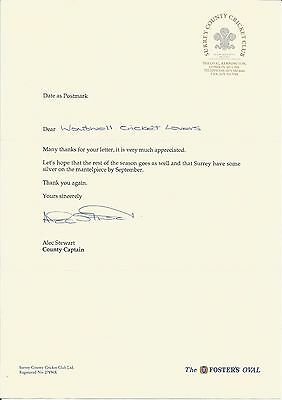 Alec Stewart (Surrey And England) Hand-Signed, Typed Letter