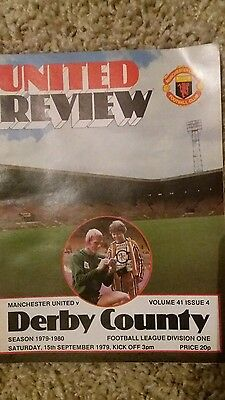 Manchester united  v Derby county. 1979 football programme