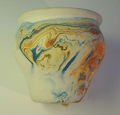 Nemadji Wide Mouth Pottery Vase 4 Inches Tall Blue Orange Swirl