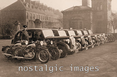 PHOTO TAKEN FROM A 1930's IMAGE OF OLDHAM's FLEET OF POLICE VEHICALS
