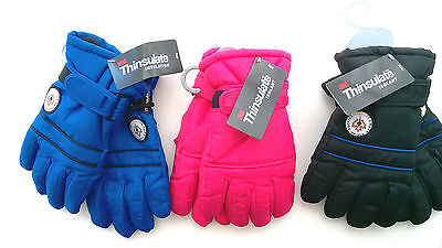 Kids Ski Winter Thinsulate 40g Gloves 3-6 7-10 11-13 Years Pink Black Blue