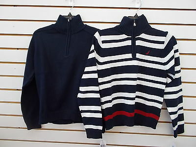 Boys Nautica $44.50 Navy Pullover Zip Neck Sweaters Size 10/12 - 18/20