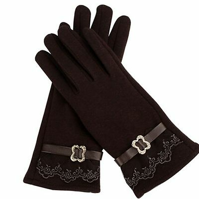 Winter Knitted Cashmere Cotton Warm Lace Touch Screen Gloves Velvet Women