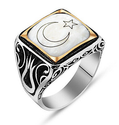 Men's Sterling Silver Islamic Square White with Crescent Moon and Star Ring