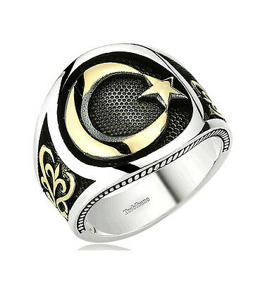 Men's Sterling Silver Islamic Crescent Moon and Star Ring Style 099