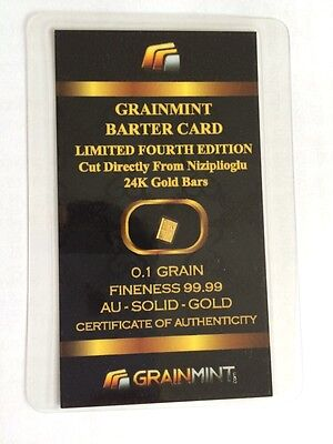 0.1 GRAIN Solid Gold Bullion Barter Cards 7th EDITION