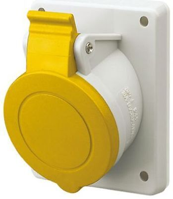 32A   Yellow   2P+E Pole   Plastic Industrial Socket   100-130V   IP44