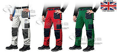 Men Painters and Decorators Mechanics Work Cargo Trousers Knee Pads Pockets L&H