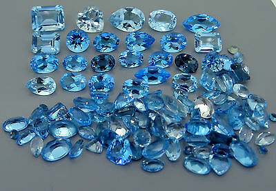 77.11ct lot of natural blue topaz scrap gold jewellery gemstones gems