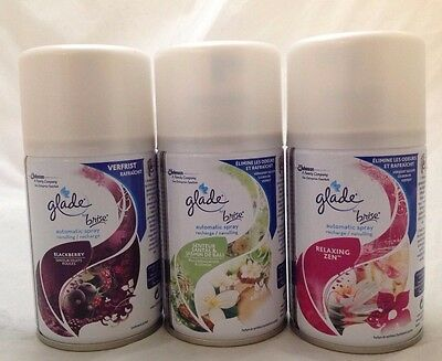 3 X Glade Automatic Spray Refill 269Ml - Various Scents Bali Zen Blackberry