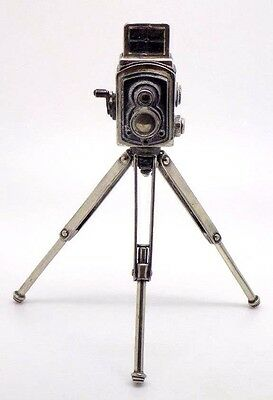 Vintage Solid Sterling Silver 925 Old Camera on Tripod Miniature - Stamped - ITA
