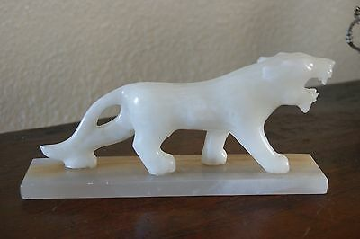 white onyx marble statue figure of a tiger panther