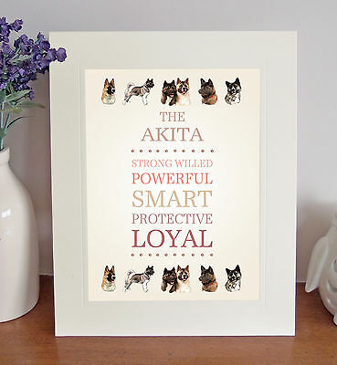 Akita 8 x 10 Free Standing BREED TRAITS Picture Fun 10x8 Dog Print Lovely Gift