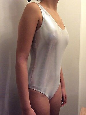 Brand New silver sparkly Gym leotard size 4