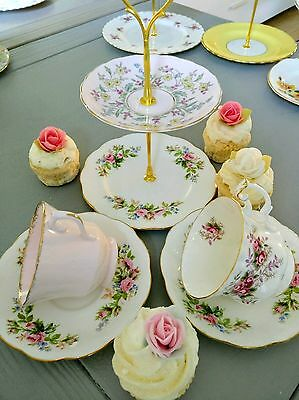 Vintage English Bone China  Pink Floral Tea Cup & Saucer Set For Two Cake Stand