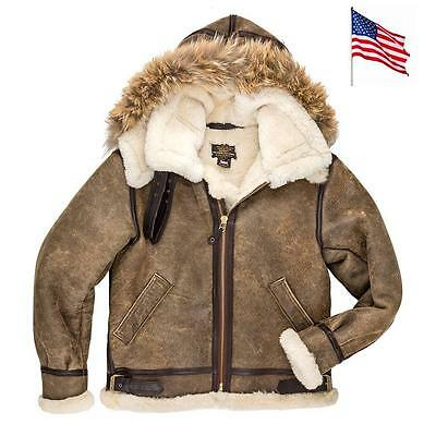 Bombardier B3 Shearling Capuche Coyote Cockpit USA MADE IN USA T: 40 US ou 50 FR