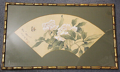 Oriental watercolour on silk, flowers and butterfly signed and stamped